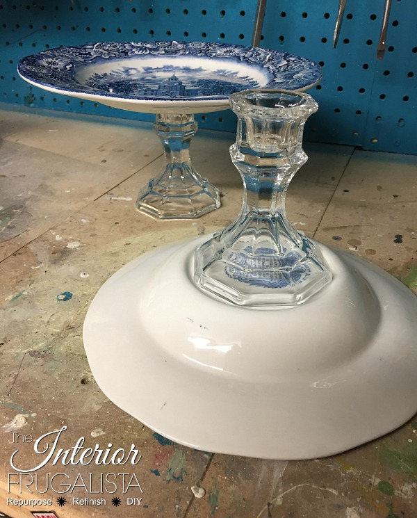 Assembling DIY Cake Stands using glass candlesticks