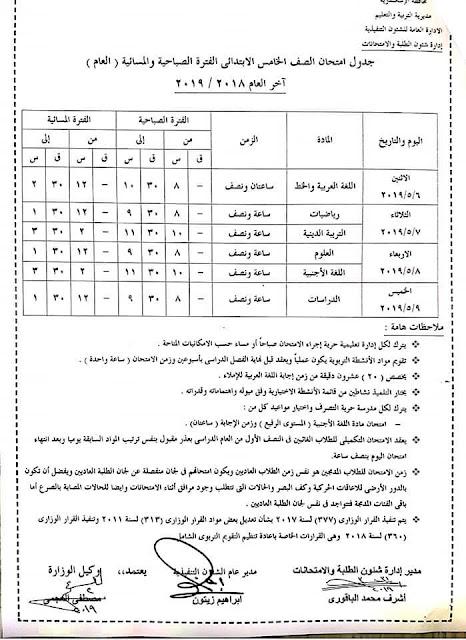 """رسمي ومختوم من الوزير """"جداول امتحانات نهاية العام 2019"""" الترم الثاني لمحافظات مصر 3 6/4/2019 - 5:34 م"""