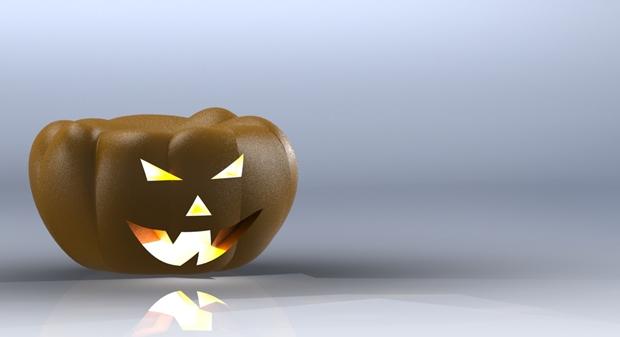 render de una calabaza de halloween en solidworks