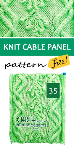 Knitted Cable Panel Pattern 35, its FREE