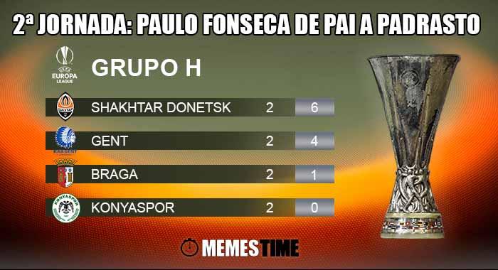 Memes Time, da bola que rola e faz rir - Classificação após a 2ª Jornada do Grupo H da Liga Europa: Shakhtar Donetsk 1 – 0 Braga e Gent 2 - 1 Kanyaspor - 2ªJornada: Paulo Fonseca de Pai a Padrasto
