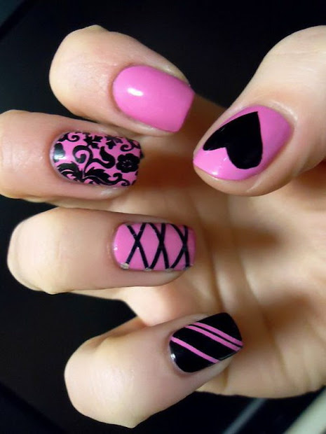 pink and black nail ideas
