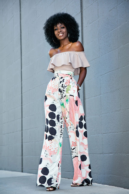 off the shoulder trend, cold shoulders, off the shoulder silhouette, off the shoulder top, off the shoulder bohemian, off the shoulder ruffled top, off the shoulder dress, off the shoulder knit, biggest spring trend 2016, street style, printed wide leg pants
