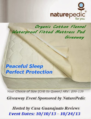 Enter to win a Naturepedic Waterproof Mattress Cover. Ends 10/24.