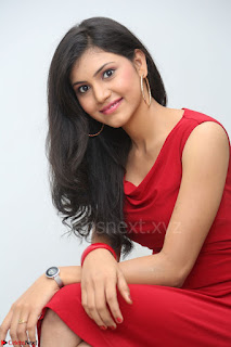 Mounika Telugu Actress in Red Sleeveless Dress Black Boots Spicy Pics 020.JPG