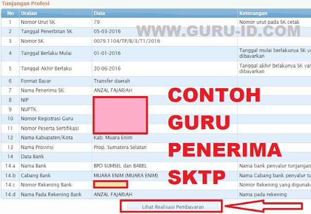 gambar contoh data valid guru penerima SK tunjangan Profesi di info gtk