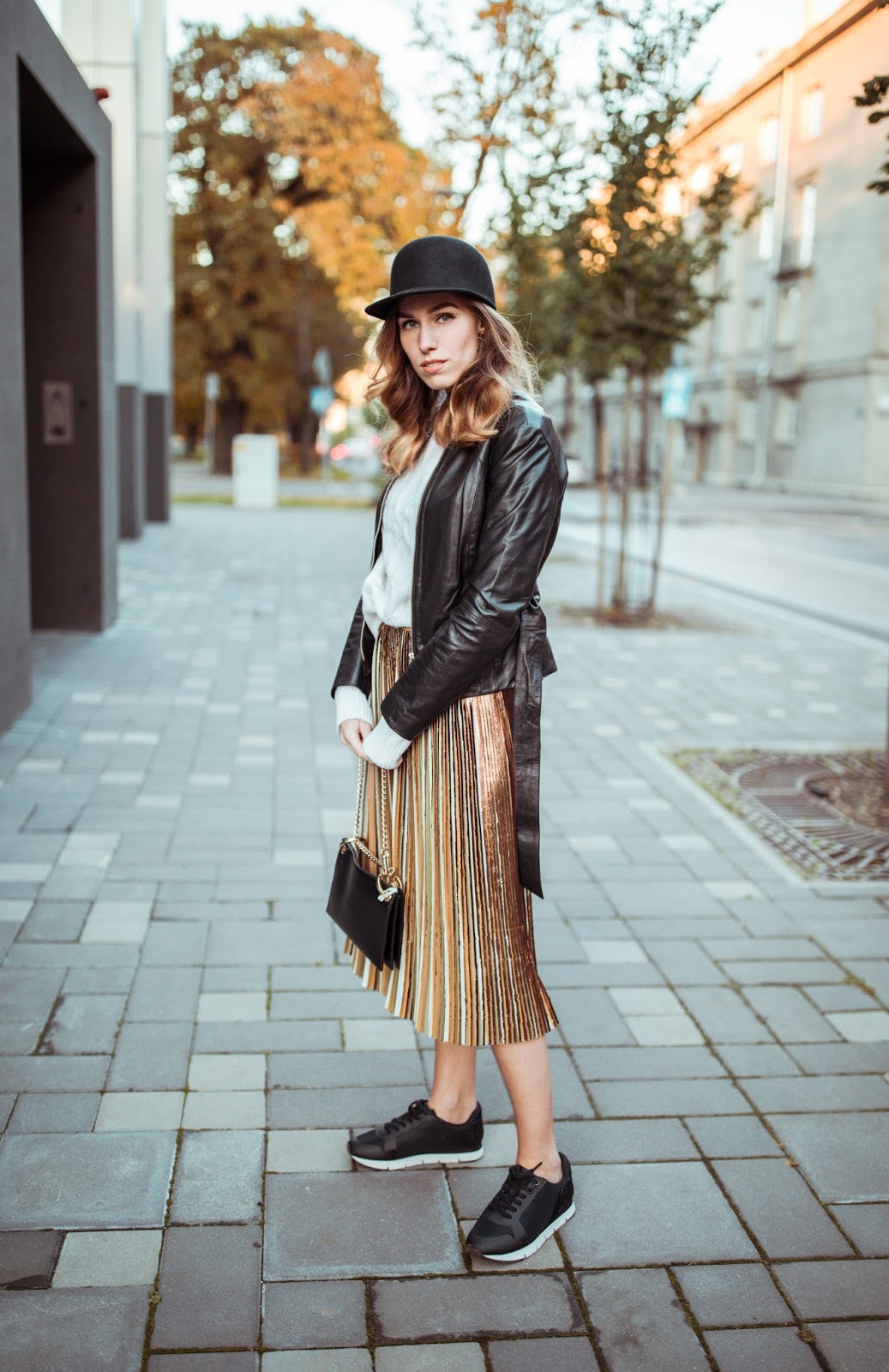 pleated midi skirt sneakers outfit fall