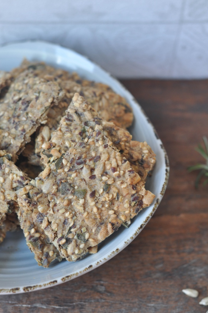 gluten free Cracker with seeds and rosemary