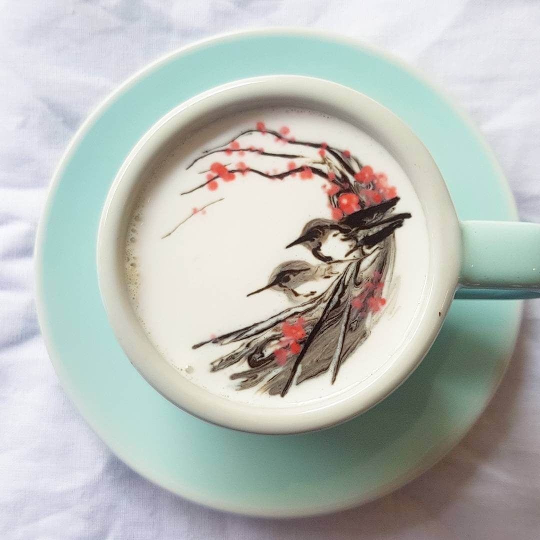 07-Birds-on-a-Cherry-Tree-Lee-Gwan-Bin-Famous-Paintings-in-Coffee-Food-Art-www-designstack-co