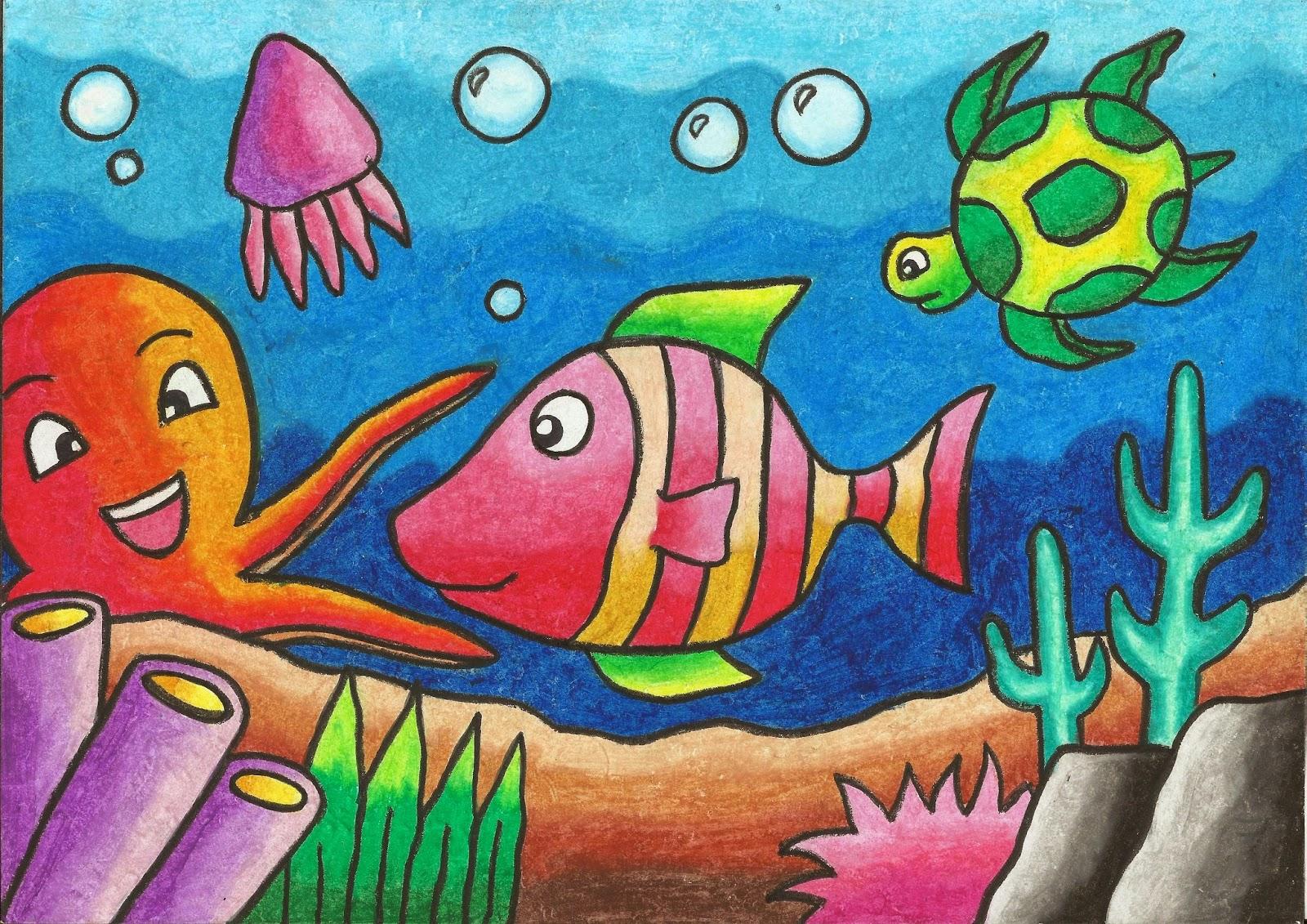 lukisan pemandangan alam menggunakan krayon