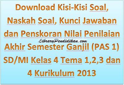 Download Kisi-Kisi Soal, Naskah Soal, Kunci Jawaban dan Pedoman Penskoran Nilai Penilaian Akhir Semester Ganjil (PAS 1) SD/MI Kelas 4 Tema 1,2,3 dan 4 Kurikulum 2013