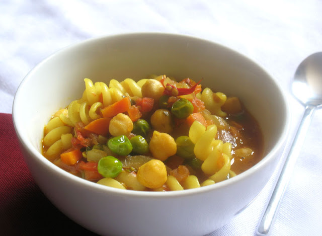 tomato soup with chickpeas and quinoa pasta