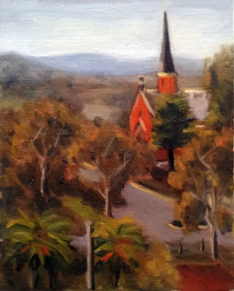 Oil painting of a red brick church and spire with palm trees in the foreground and distant hills in the background.