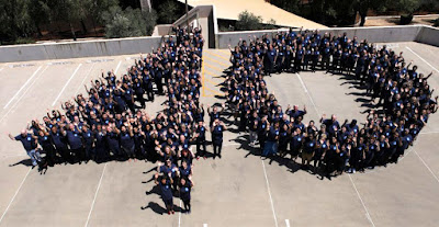 Photo of Rio staff on rooftop forming a human 40