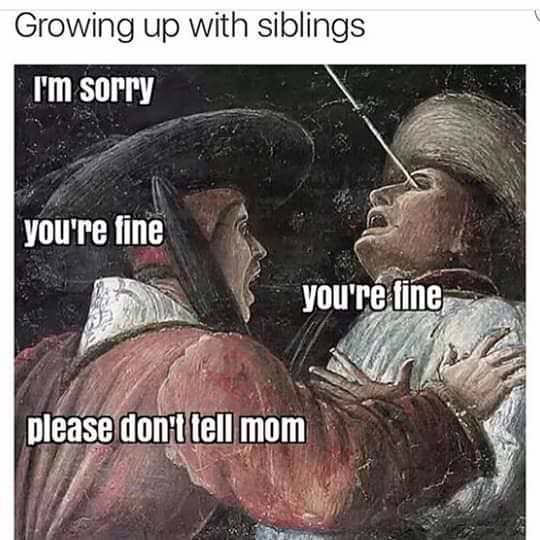Funny Growing Up With Siblings Meme Picture
