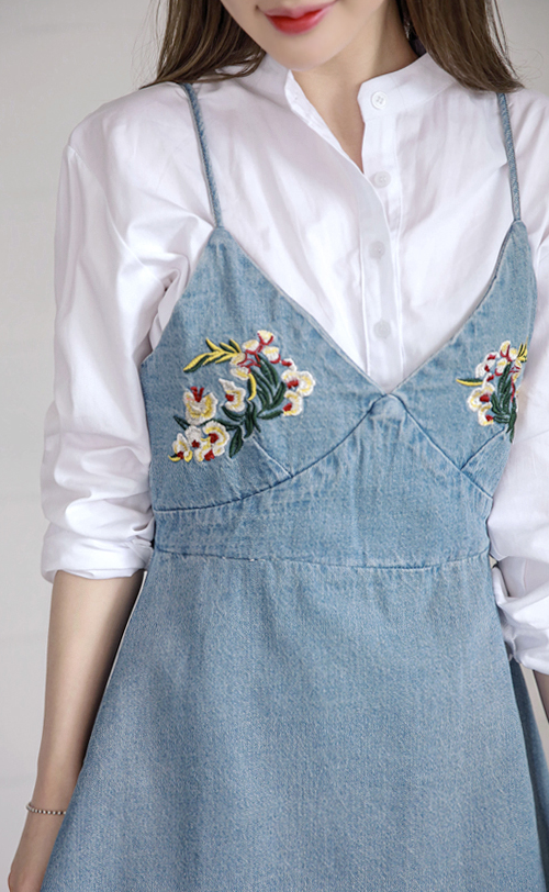 Floral Embroidered Denim Slip Dress