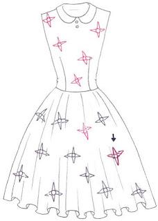 Langkah 4. Cara mudah menggambar Long Dress Motif Bunga