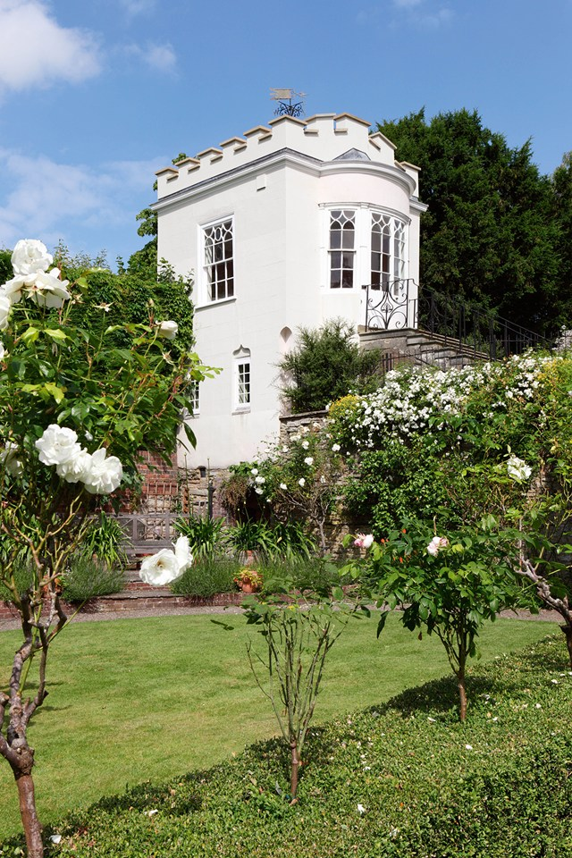 The Gothic summer house in the garden