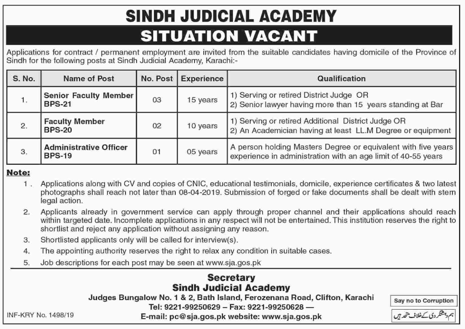 Situation Vacant under Govt Sindh 28 March 2019