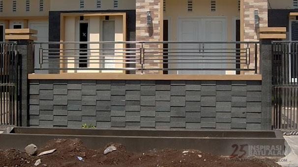 pemasangan batu alam dinding pagar 2018