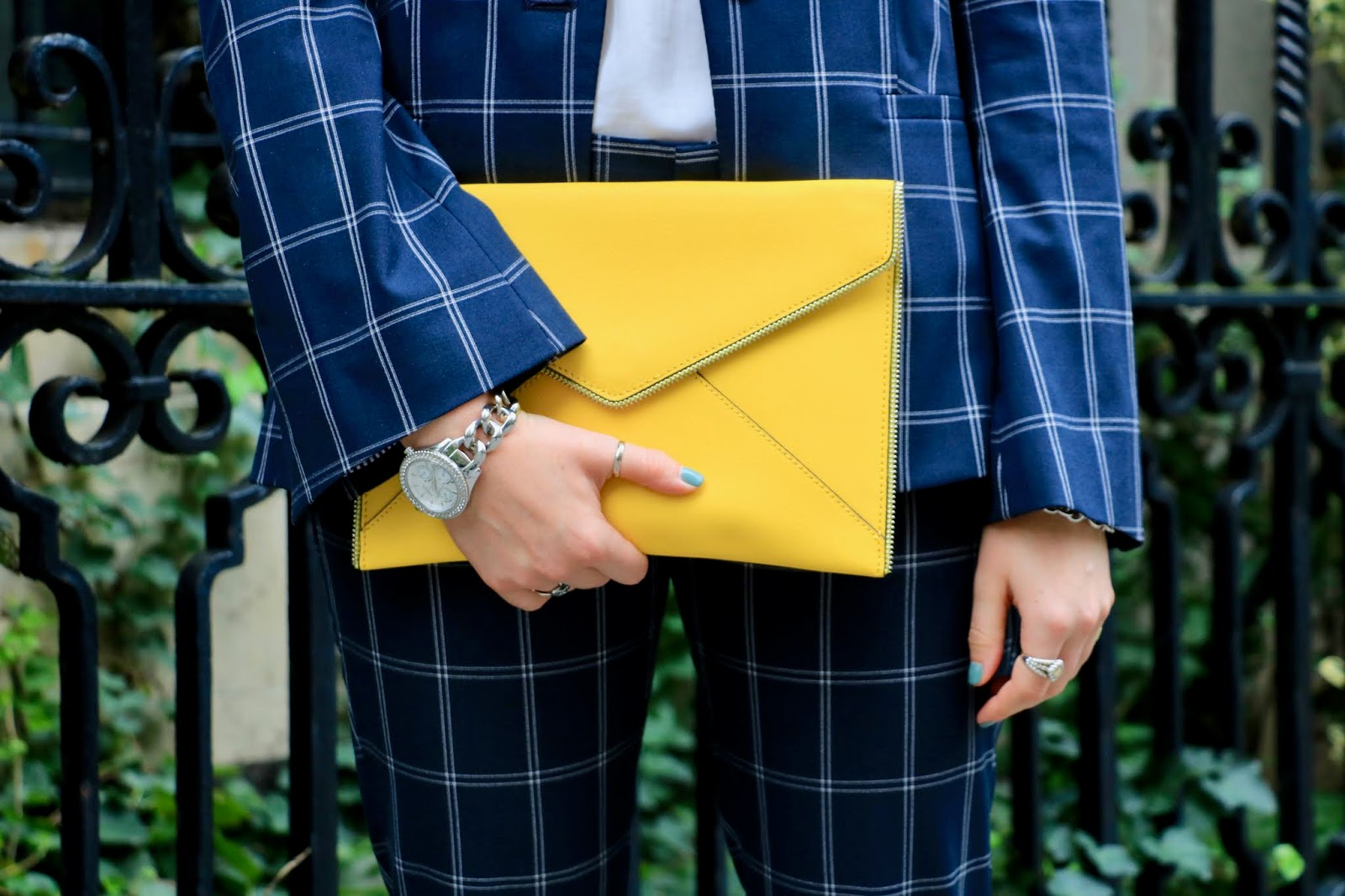 Nyc fashion blogger Kathleen Harper's yellow Rebecca Minkoff envelope clutch