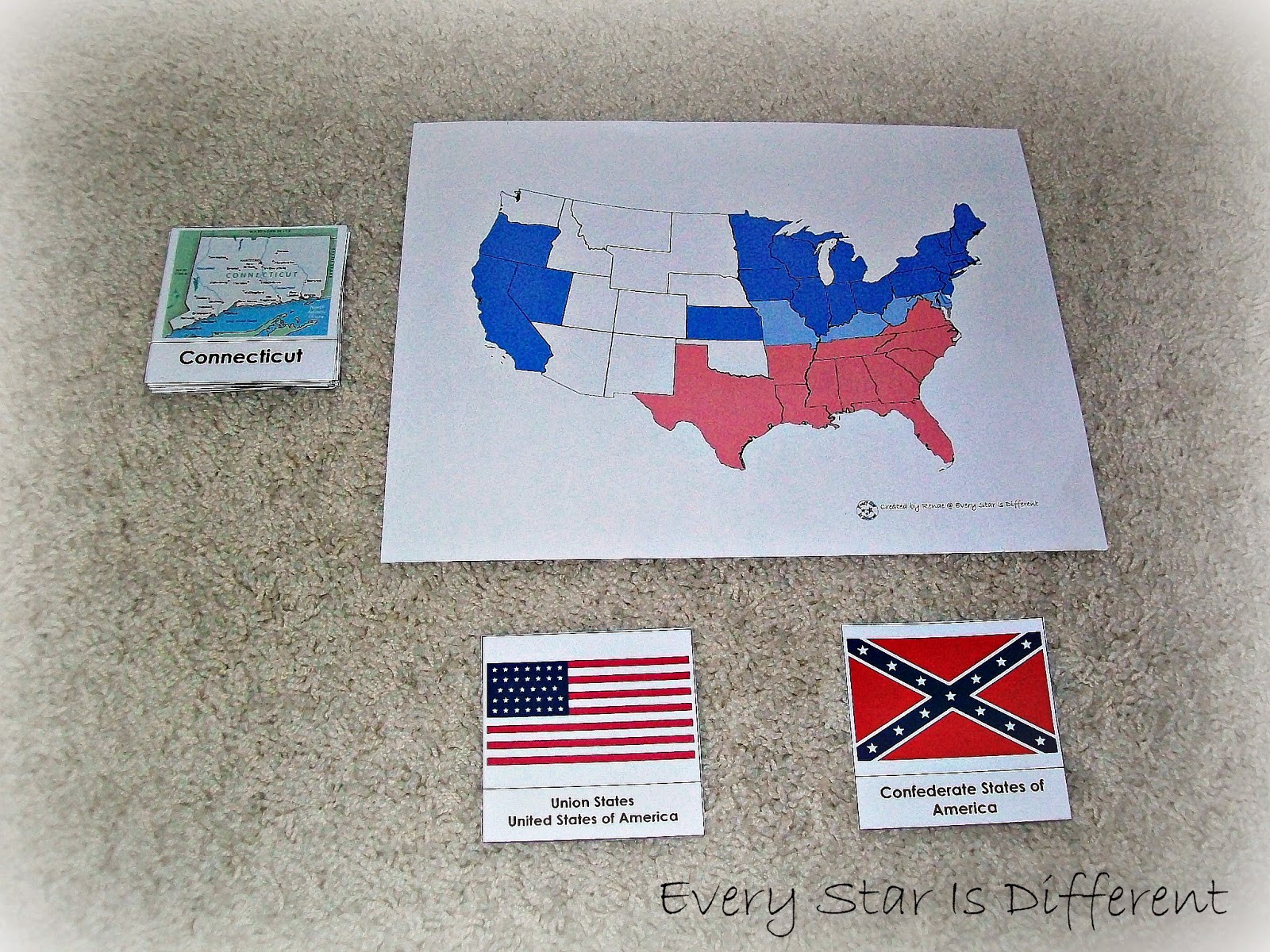 The Civil War Division of States Activity with Free Printable