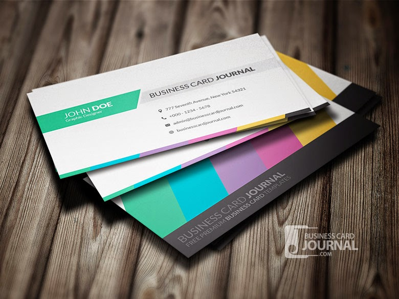20 best free business cards psd design of 2015 templateism blog 3 clean and creative multicolor business card colourmoves