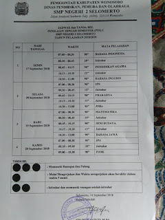 Jadwal Kegiatan PTS Semester 1 SMP N 2 Selomerto Tahun Pelajaran 2018/2019