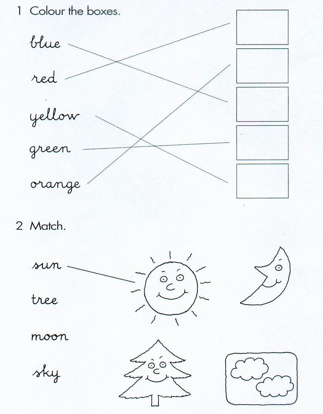 Fichas De Ingles Para Ninos Colours Worksheets