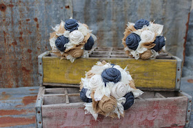 rustic wedding bouquets with navy burlap flowers