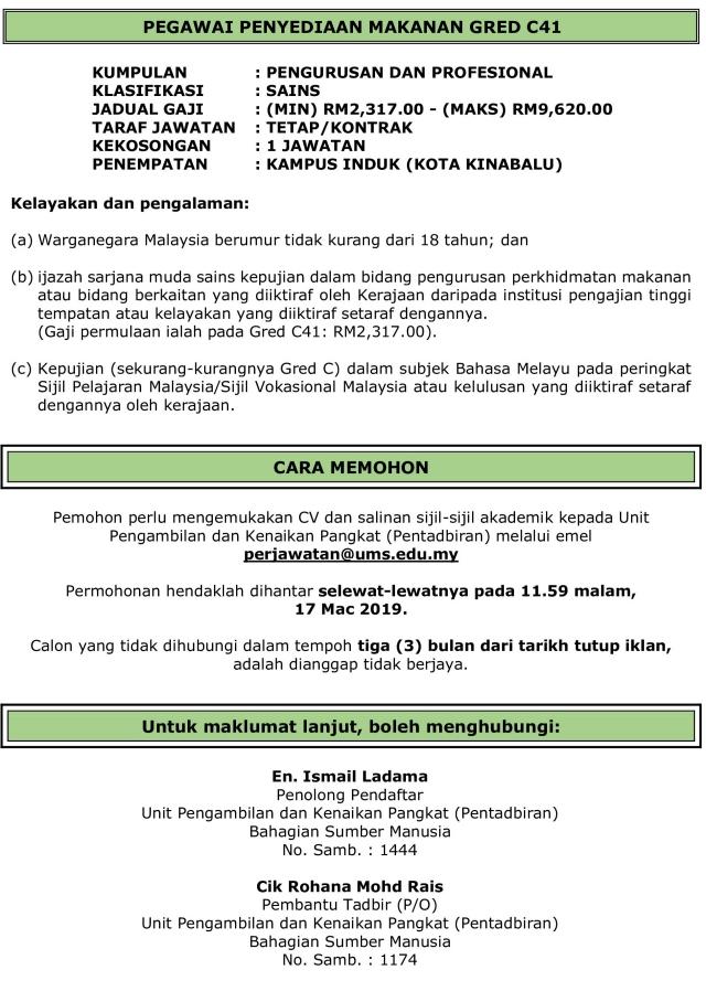 Jawatan Kosong Universiti Malaysia Sabah (UMS) - 17 Mac 2019