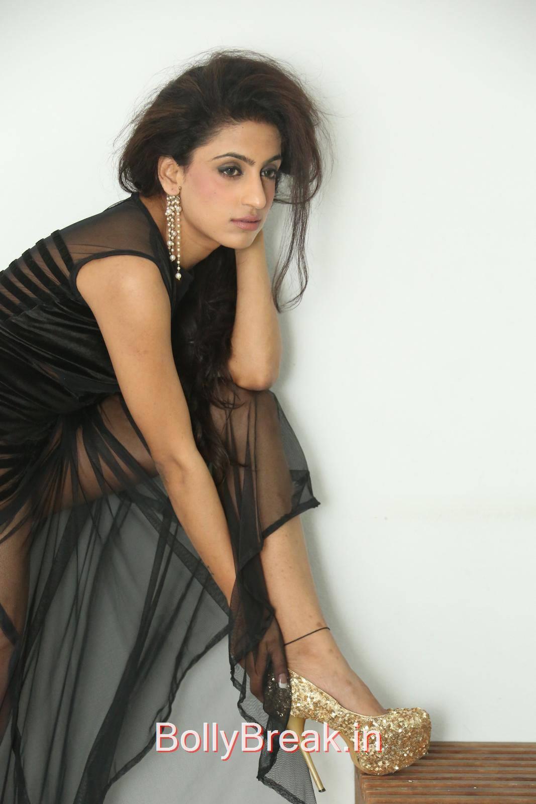 Virti Khanna Pics in Black Dress, Virti Khanna Hot Pics from Calling Bell Movie Audio Launch