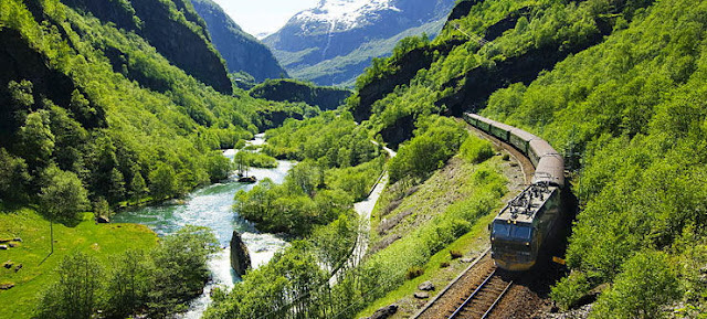 We'll climb aboard one of the world's most scenic railways—the Flåm Railway from Myrdal to the Aurlandsfjord. Photo: Innovation Norway.