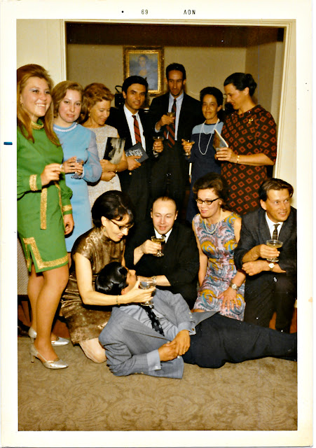 Vintage mystery photograph of a cocktail party in late 1960's San Francisco. Tanya Shchegolev aka Tatiana Shegoleff, Asya Zabelin, George Tchikovani, Mila Ershoff, Norair Norio Taschian