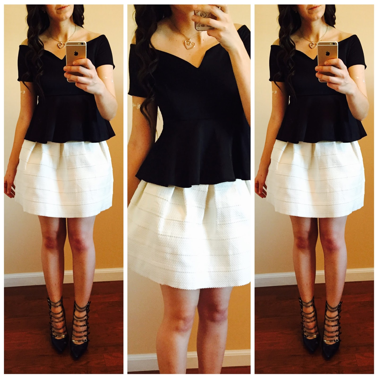 stylemoi, stylemoi daily outfits, styling different outfits, teen fashion, peplum top, polka dot dress, what to wear with pretty peplum tops, white and black peplum top, pretty outfits,