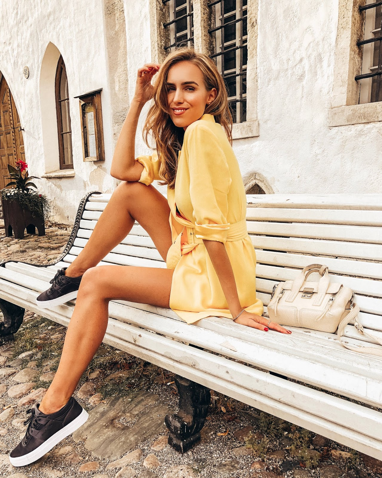 yellow blazer dress sneakers outfit summer