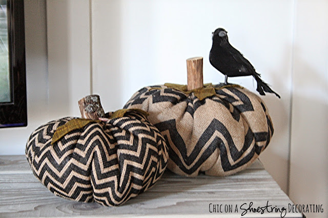 Black & Orange Fall decor at Chic on a Shoestring Decorating blog.