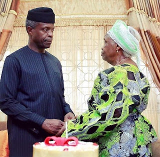 Vice President Osinbajo's Receives Cake From His Mom For His Birthday