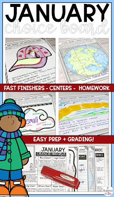 Picture of January Choice Board and activities
