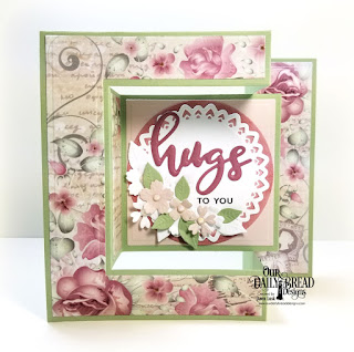 Our Daily Bread Designs Stamp/Die Duos: Hugs, Custom Dies: Tri-Fold Card with Layers, Filigree Circles, Circles, Bitty Blossoms, Paper Collection: Romantic Roses