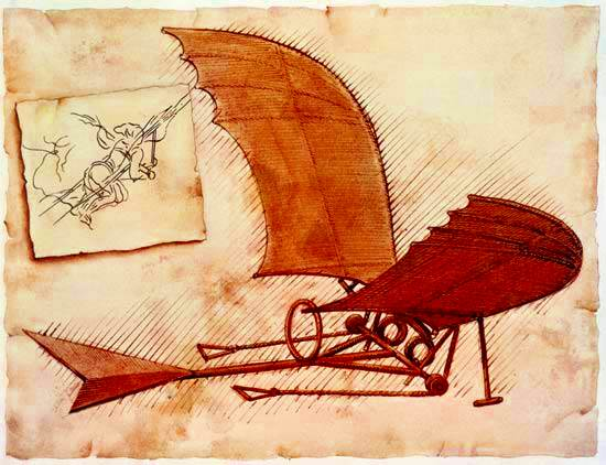 planes de Leonardo da Vinci para un ornitóptero