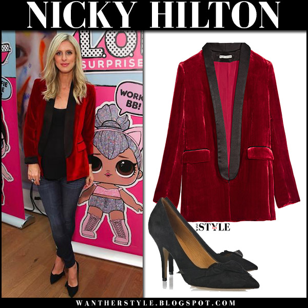 Nicky Hilton in red velvet blazer alice olivia edison, skinny jeans and black pumps isabel marant poppy october 9 2017 red carpet party style