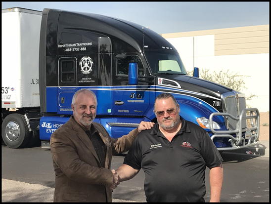 Mike Jimenez and Brian Sprowel with the Truckers Against Trafficking Everyday Heros 2017 Kenworth T680