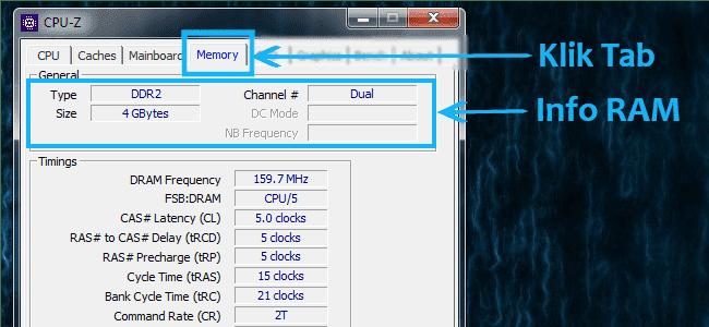 Cara melihat ram laptop pada tab memory di CPU-Z