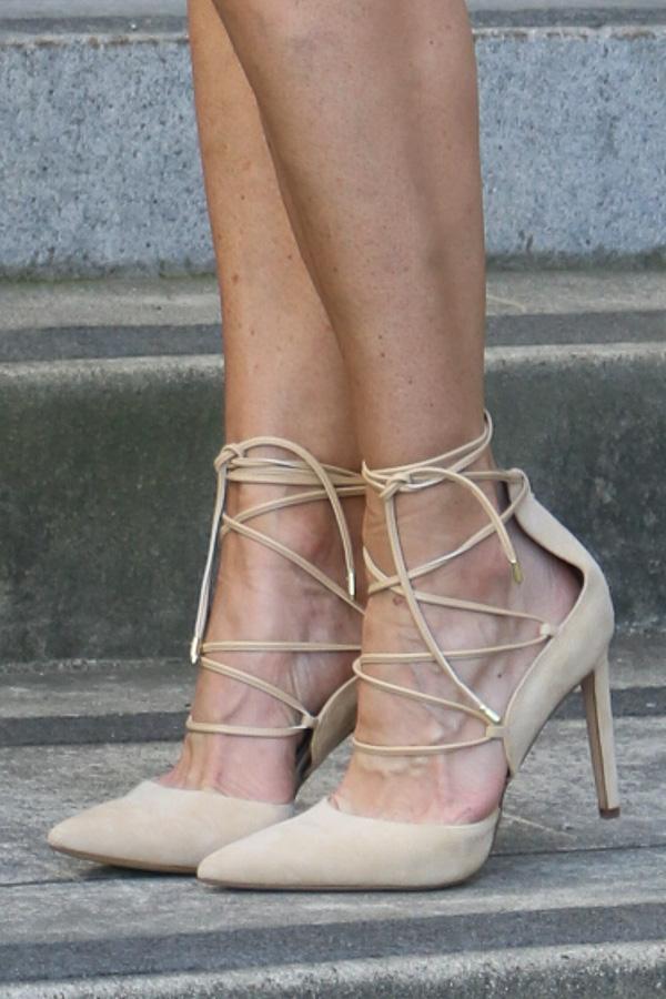 tan lace up heels