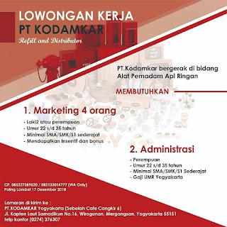 Info Lowongan Kerja Marketing dan Administrasi PT. Kodamkar Yogyakarta SMA SMK S1 terbaru terupdate november 2018