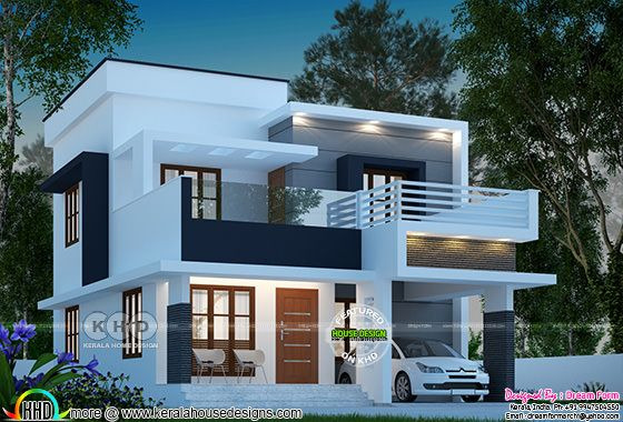 1585 square feet 3 bedroom modern flat roof Kerala home design
