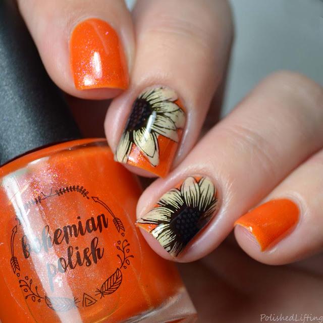 autumn sunflower nail art