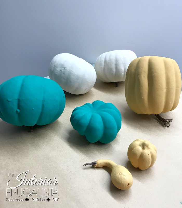 Dollar Store Pumpkins Painted With Chalk Paint