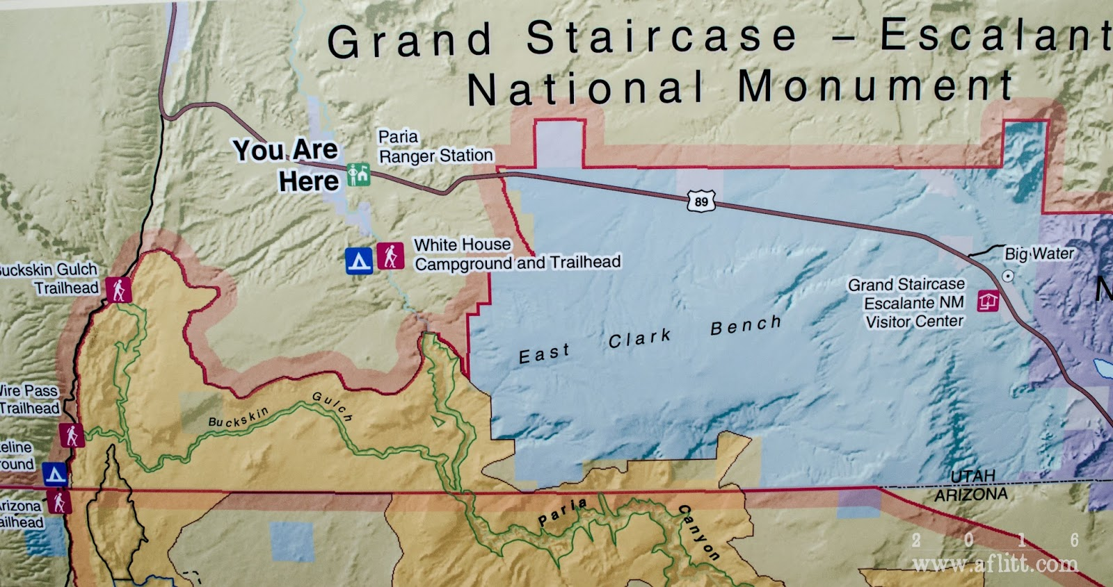 map at paria station detail paria contact station grand staircase escalante national monument utah march 24 2016 click on image to enlarge